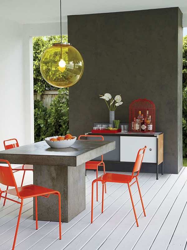 Modern orange stacking chairs