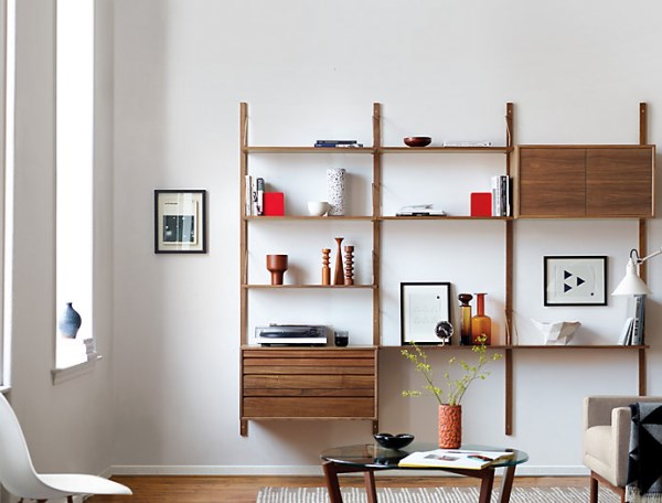 Modern wooden shelving