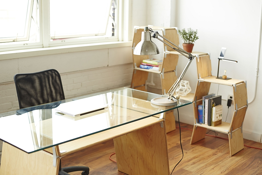 Modos shelf and table with glass top to shape your home office