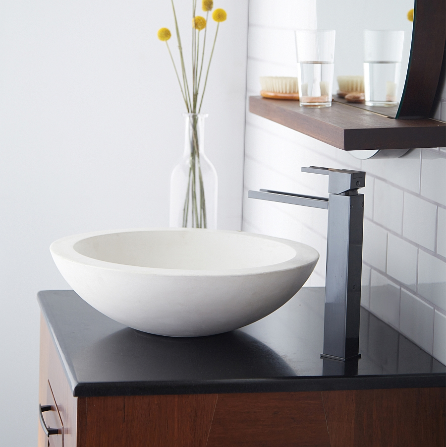 Morro Pearl vessel sink is a perfect half-sphere