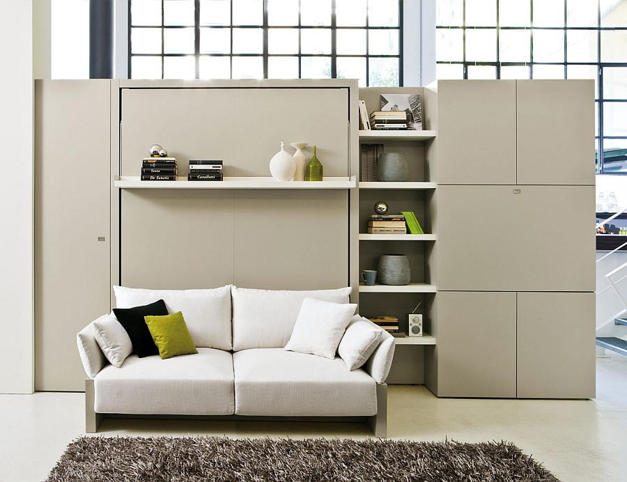 Murphy bed wall unit with sofa, storgae and display shelves