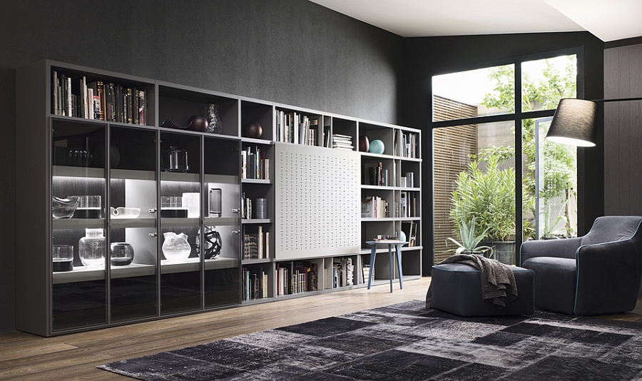 Contemporary living room wall units and libraries ideas for Modern living room shelving units
