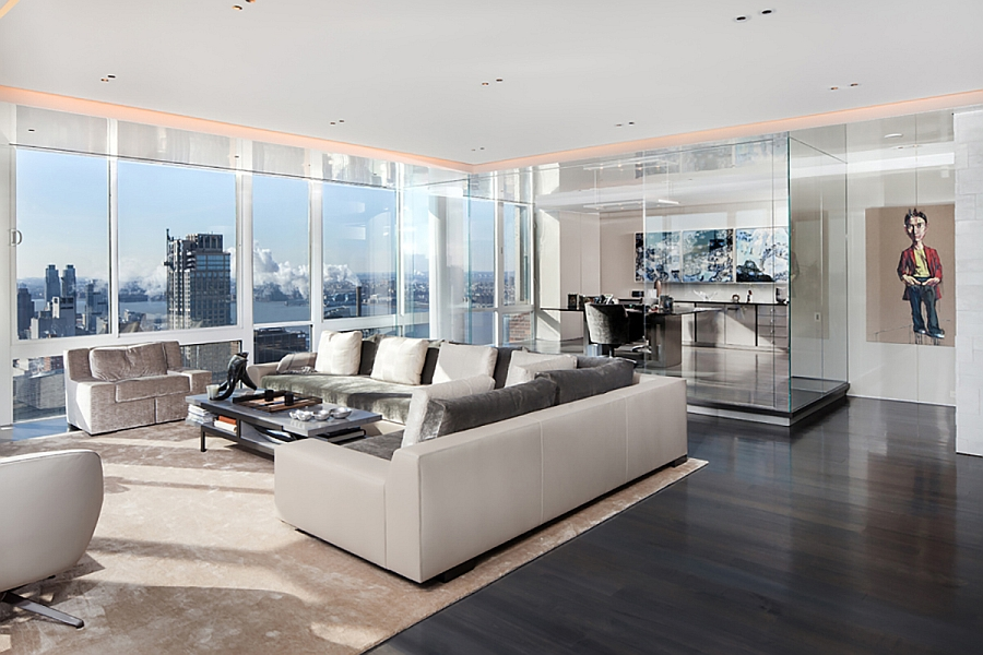 NYC penthouse living room in white with unabated views Scintillating Views And Smart Lighting Shape Posh Manhattan Penthouse