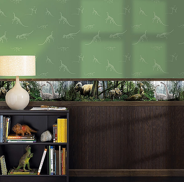 National Geographic kids' room wallpaper with a dinosaur theme is posh and playful