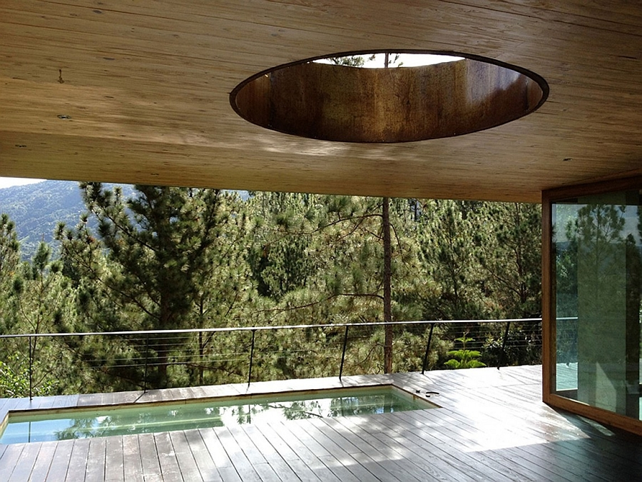 Natural cutouts in the ceiling usher in ample light