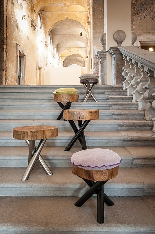 Naural tree trunk slices turned into gorgeous stools