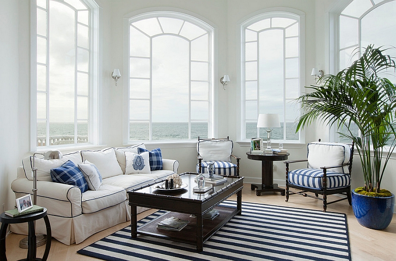 Nautical inspired living space seems to bring the ocean indoors
