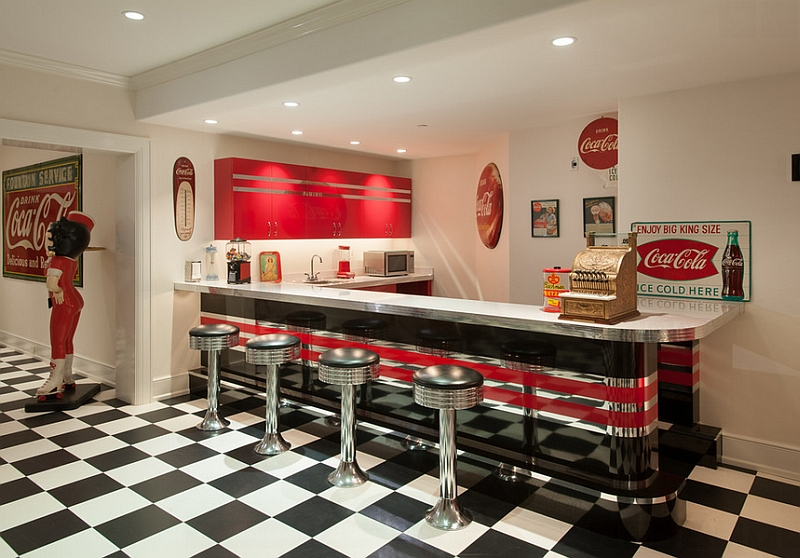 Nostalgic 50s diner look for the bar area with vintage Coca cola decor and ads Fizzy Design Rush: Add Some Refreshing Reds With Iconic Coca Cola Decor