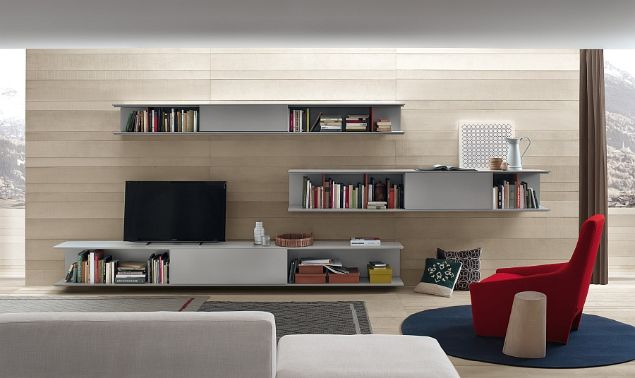 View in gallery line wall unit system for living room with a semi minimal design