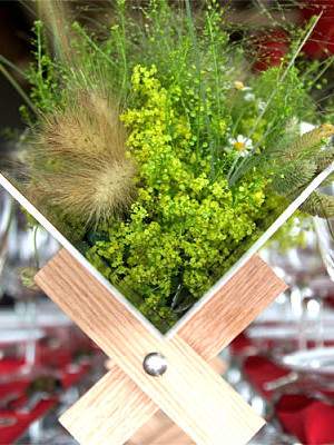 Organic centerpiece on a red tablecloth