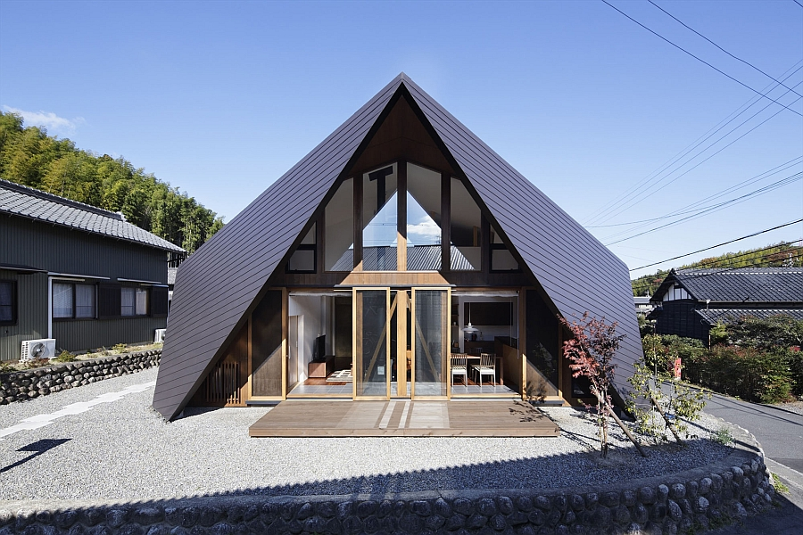Origami House in Japan by TSC Architects Creative Origami House In Japan Combines A Distinct Silhouette With Modern Minimalism