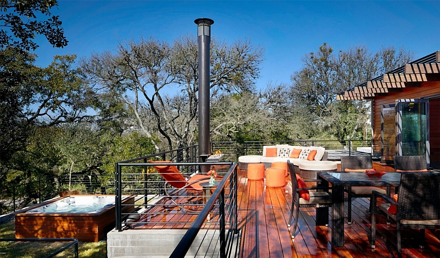 Outdoor Jacuzzi and wooden deck with plush seating