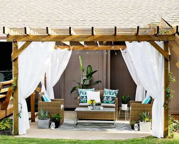 Outdoor pergola with curtains