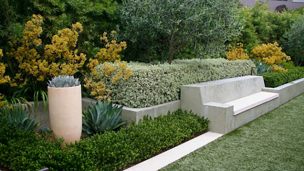 Outdoor space with gold, green, cream and stone