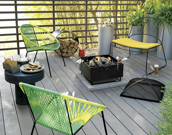 Outdoor space with green and yellow accents