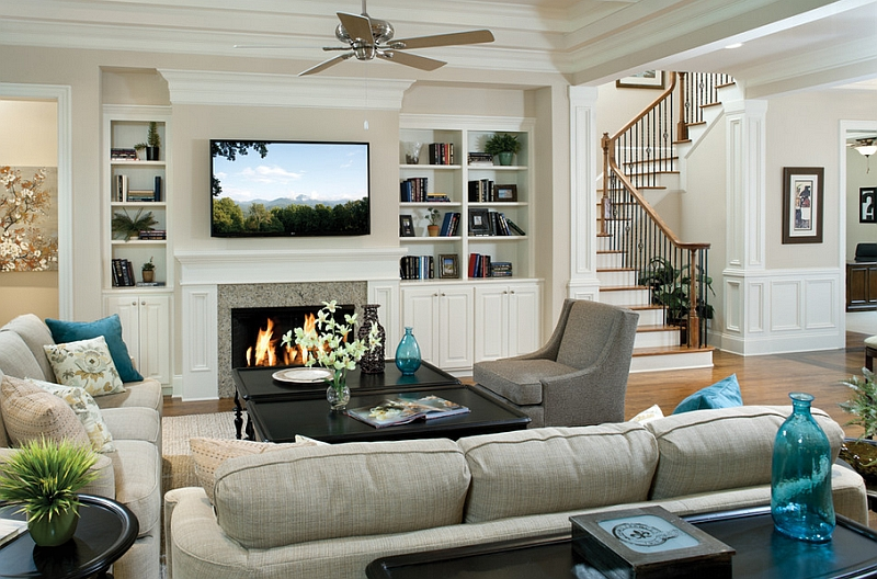 view in gallery pops of turquoise enliven the traditional living room - Decorating Ideas For Living Rooms With Fireplaces