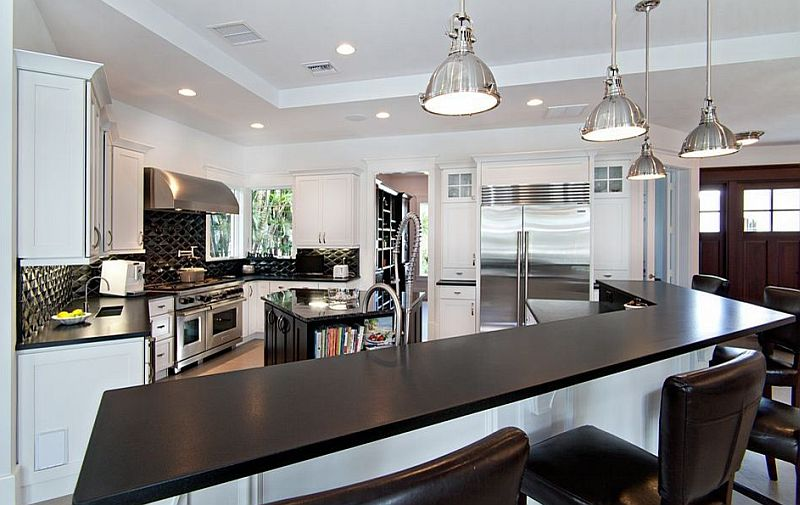 Posh kitchen in Absolute Black Granite counter top in a Leather Finish