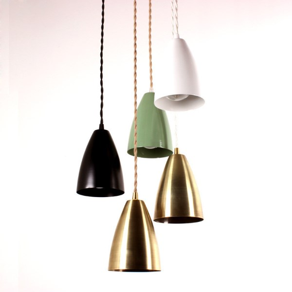 Powdercoated pendant light with a cloth cord