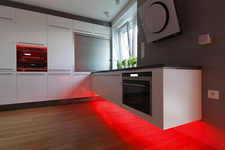 Red LED lighting for the floating kitchen counter