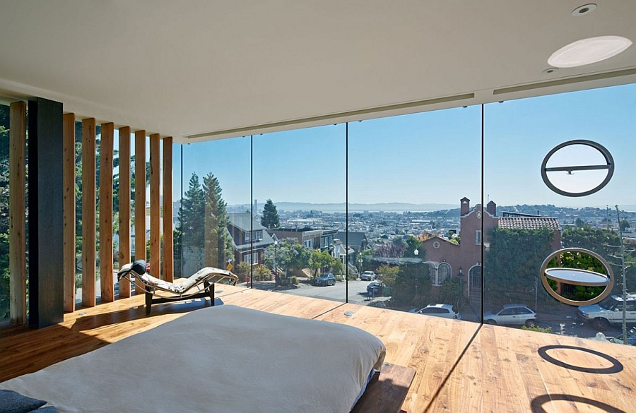 Relaxed and minimal bedroom with unabated views of San Francisco