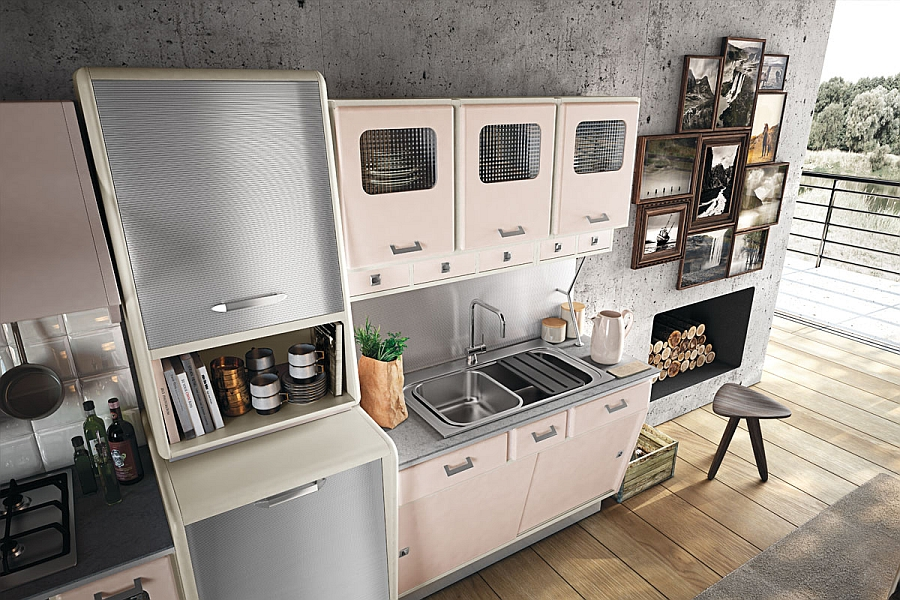 Retro style kitchen cabinets with a metallic finish