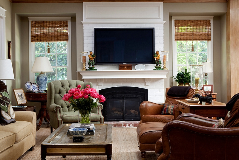 Living Room With TV Above Fireplace By Andrea Braund Home Staging Design View In Gallery A Blend Of The Traditional And Modern