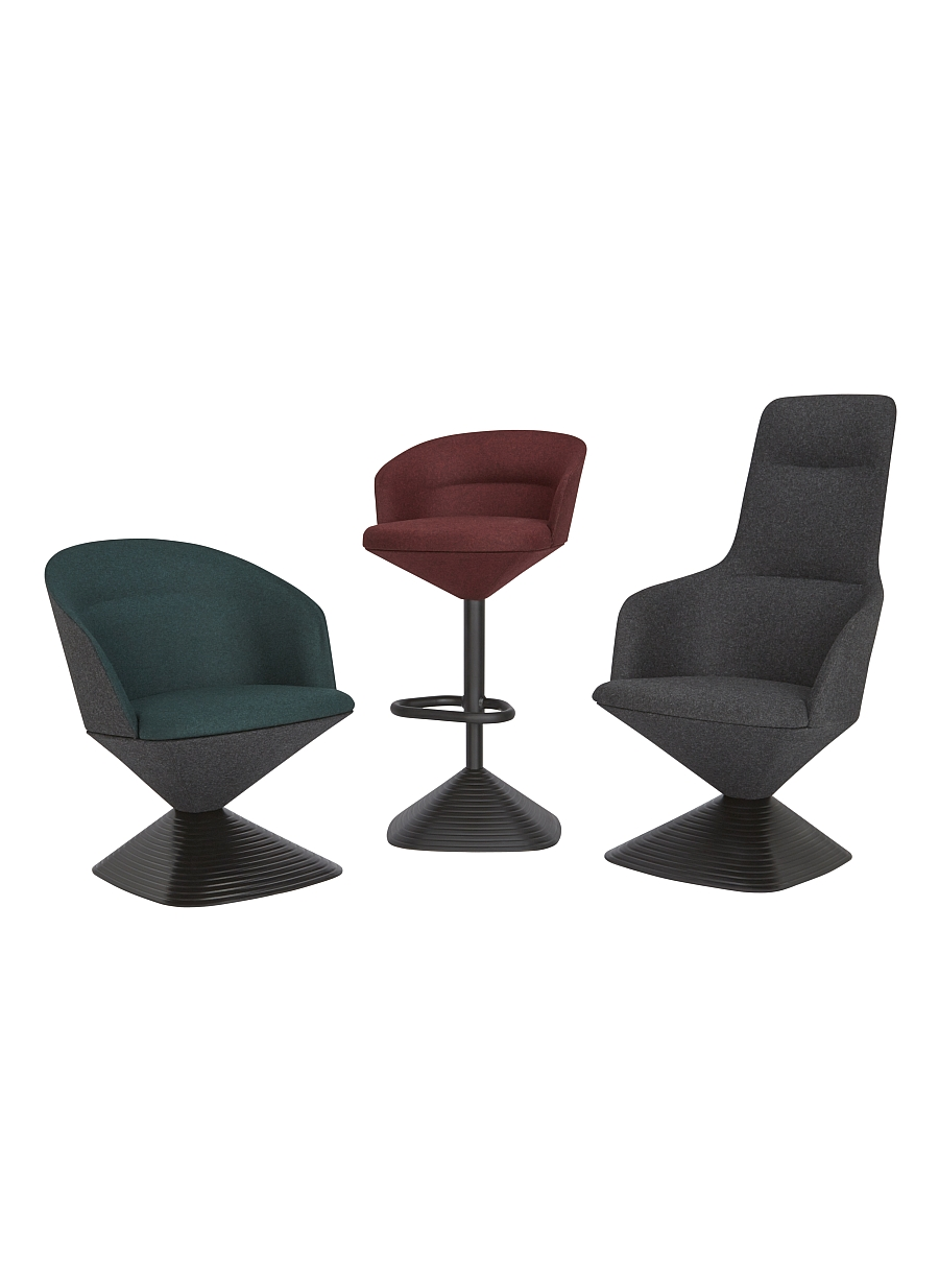 Sharp and angular Pivot Chair Collection