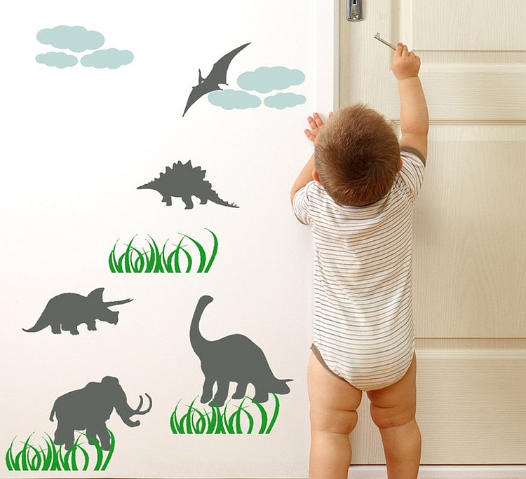 Simple wallpaper with dinosaur motif for the little one's room