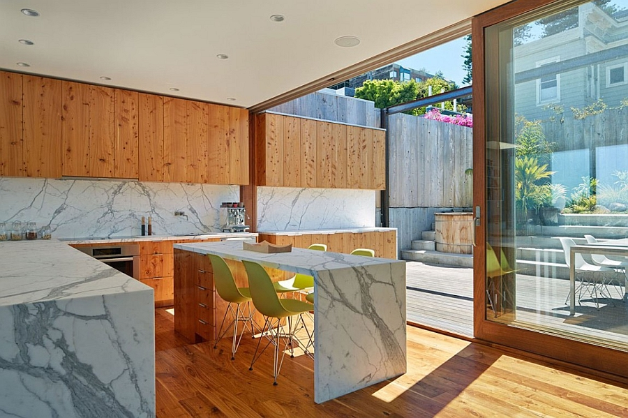 Sleek kitchen and a smart counter crafted from marble