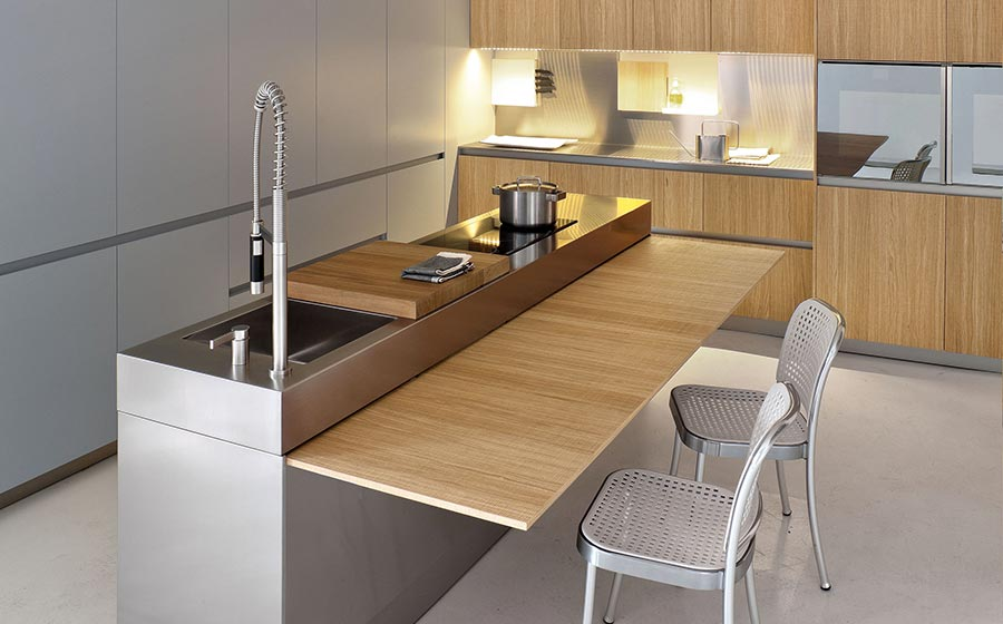 Modern kitchen with space saving solutions design ideas for Table de cuisine retractable