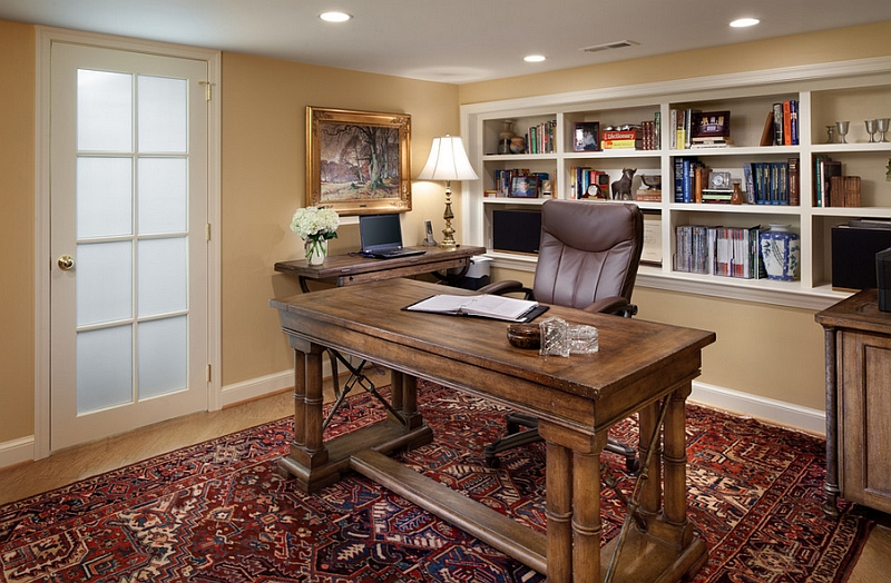 Small basement home office design and decorating idea