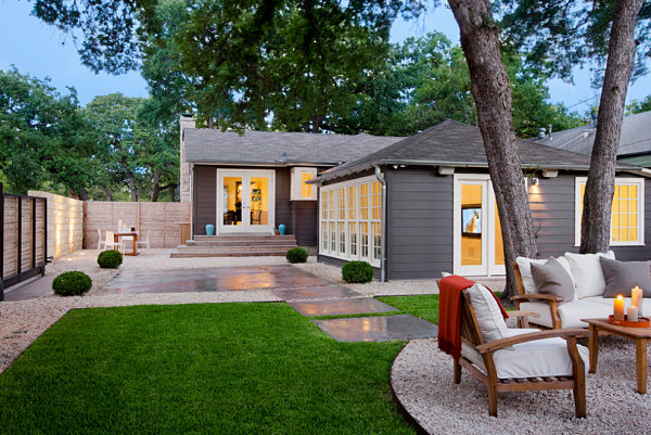 Small colorful details in a landscaped backyard