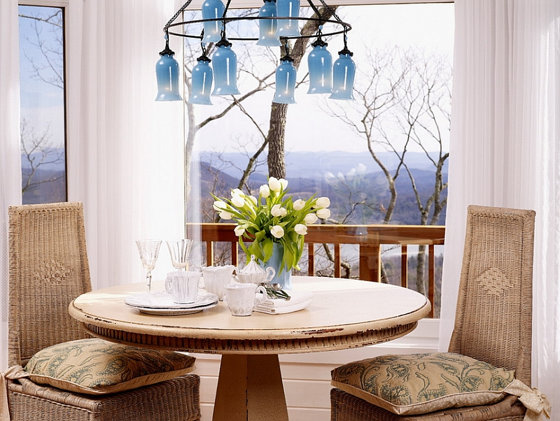 Smart and bright chandelier seems to complement the mountain backdrop