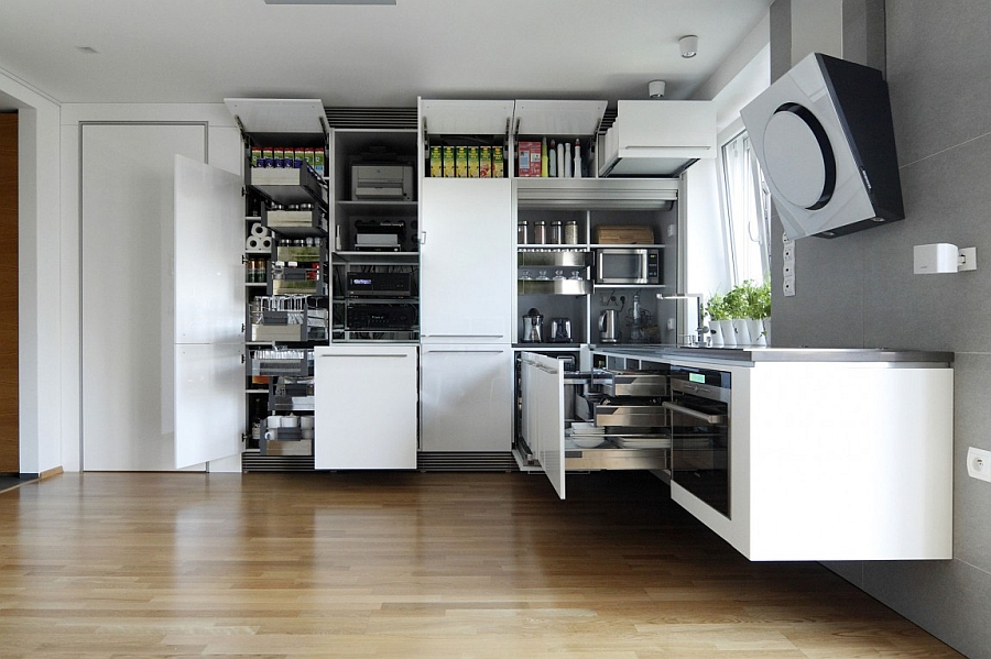 Smart combination of closed cabinets in kitchen that save up on space