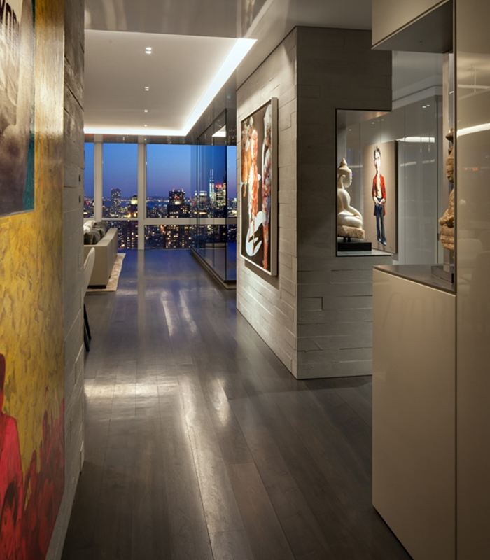 Smart lighting complements the scintillating art work in the penthouse