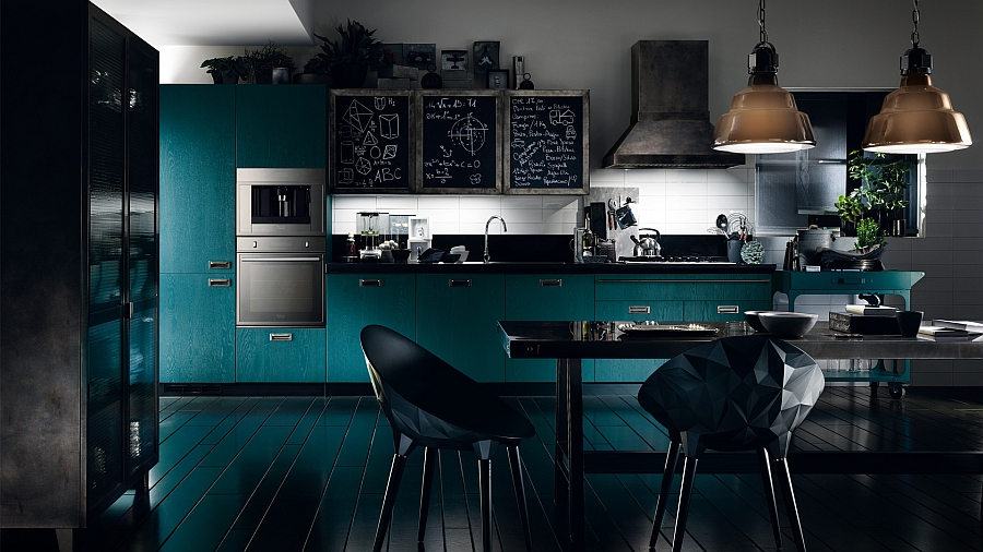 Social kitchen with an ultra-modern look and daring color!
