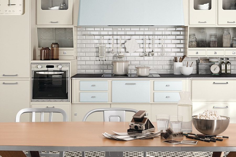 Soft edges and pastel hues make the kitchen even more trendy