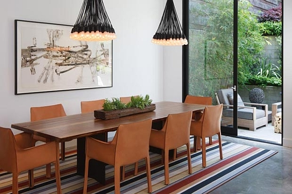 Sophisticated dining room with the 85 Lamps chandelier