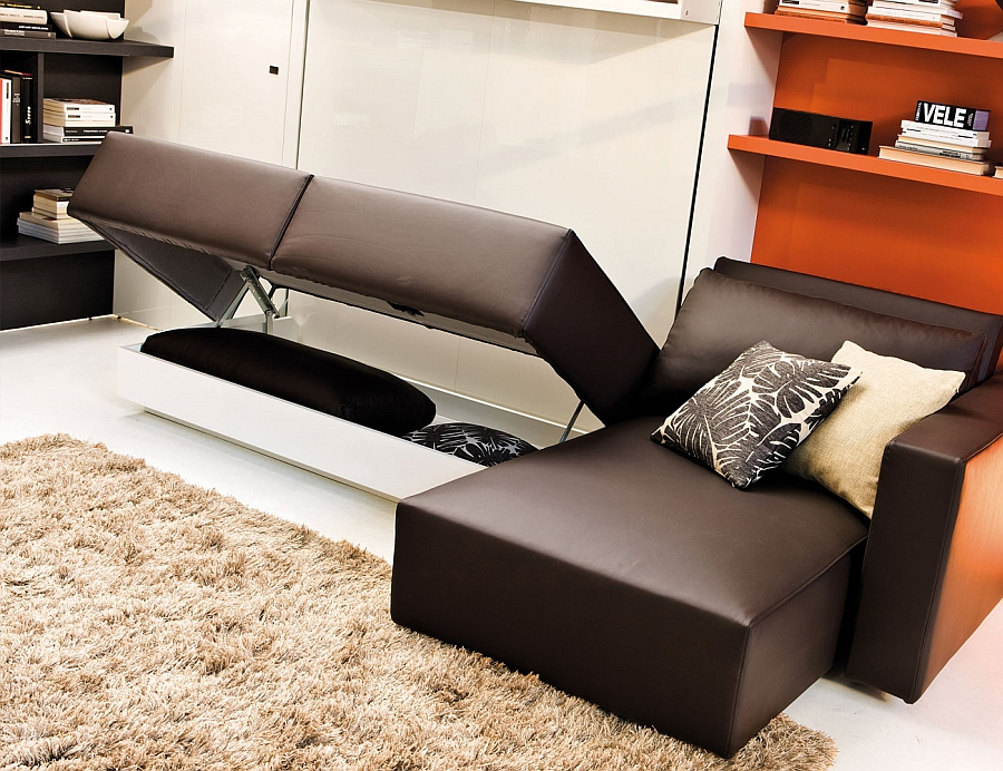 Space conscious murphy bed and couch system perfect for the modern bachelor pad decoist Murphy bed over couch
