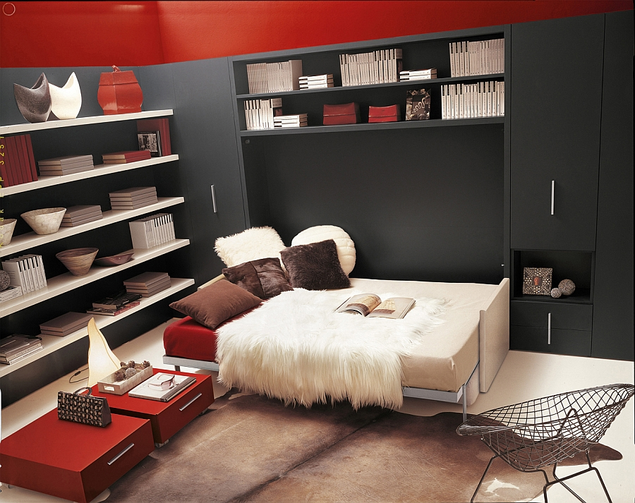 Space-saving murphy bed and sofa with additional storage units