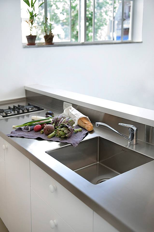Stainless steel kitchen countertop and sink