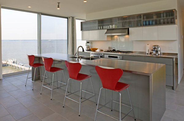 View in gallery Stainless steel kitchen island with red Series 7 stools & Stainless Steel Kitchen Islands: Ideas and Inspirations islam-shia.org