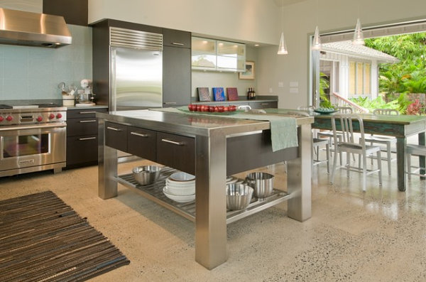 Stainless steel kitchen island with storage