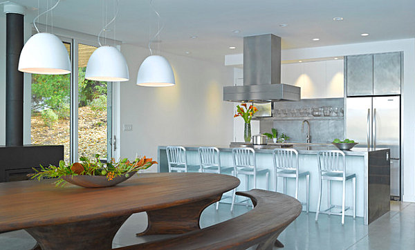 Stainless steel kitchen with a modern island
