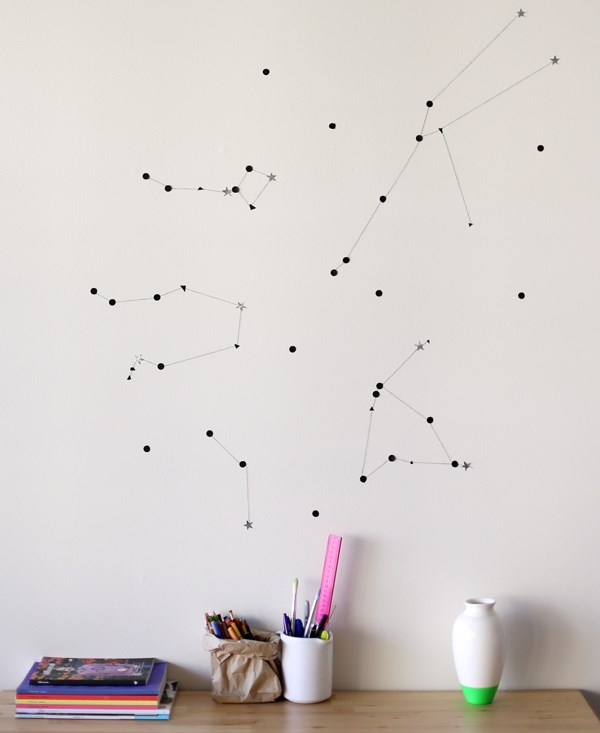 Star constellation wall art Affordable DIY Projects For Budget Savvy Design Enthusiasts