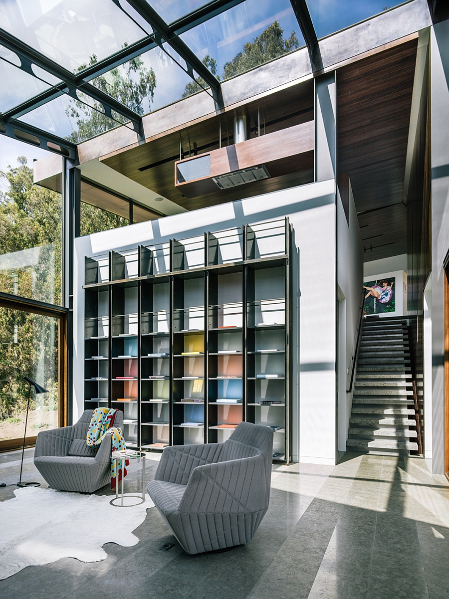 Steel, glass and copper dominate the majestic home library