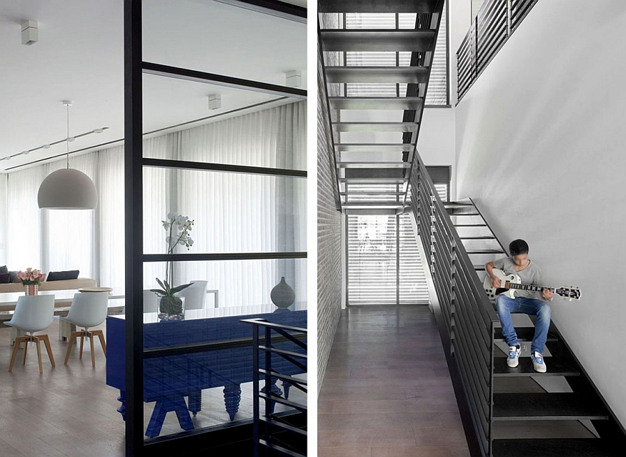 Steel staircase leading to the bedrooms