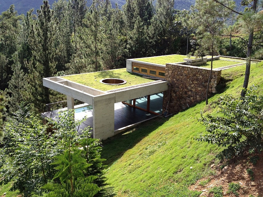 Stunning contemporary house built into the side of a hill