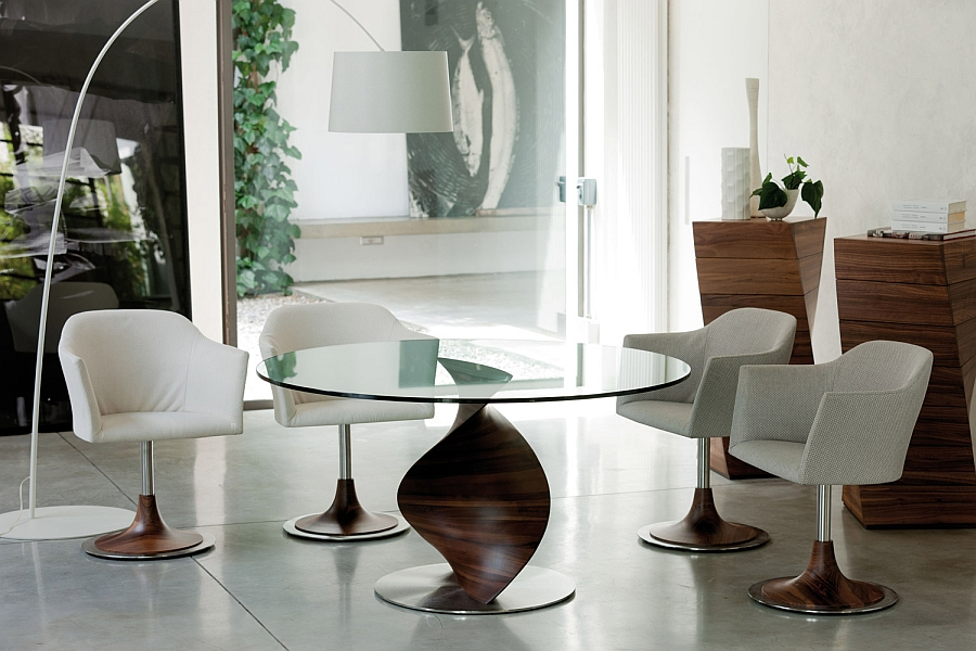 Stunning dining table with a base inspired by a tornado