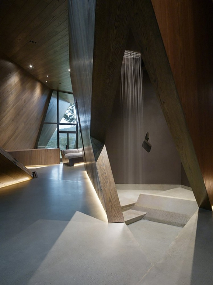 Stunning, futuristic shower area in the ultra-sleek bath